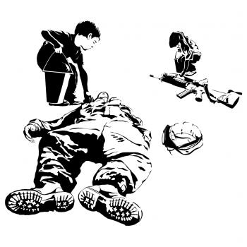 Future Relic, Scavenger Hunt, Kids, dead soldier, battle, weapons, corpse