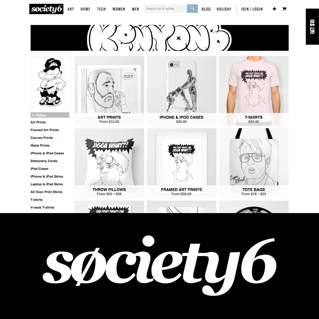 KENYONB, Society6, reproductions, t-shirts, posters, mugs